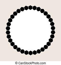 grafico, frame., illustrazione, vettore, nero, rotondo, favo