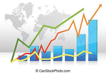 grafico, frecce, finanza, sbarra