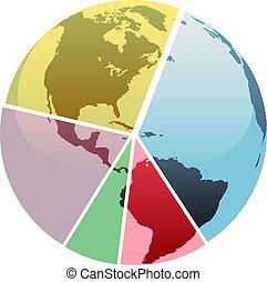 grafico, globo, settori, parti, terra