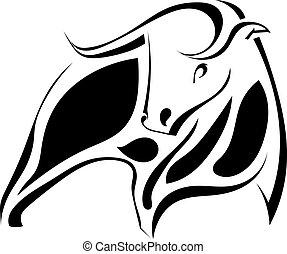 grafico, immagine, illustrazione, bull., vettore, nero, forte