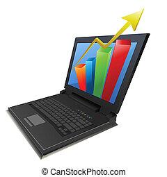 grafico, laptop, crescita, affari