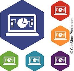 grafico, laptop, set, icone affari