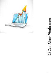 grafico, laptop, vettore, sbarra, crescita