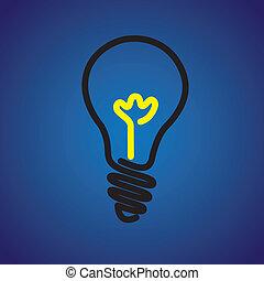 grafico, luce colorita, symbol-, vettore, lampadina incandescente, icona