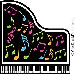 grafico, note, vettore, pianoforte, logo., musicale