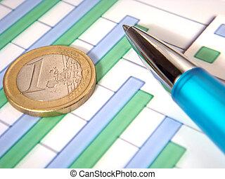 grafico, penna, sbarra, moneta, euro