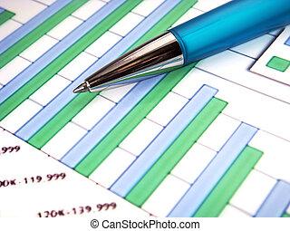 grafico, penna, sbarra, numeri