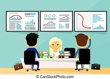 grafico, persone, finanza, tendenza, commercianti, affari, finanziario, giù, crisi, computer, ufficio, cadere, negativo, scrivania