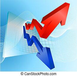 grafico, profitto, illustrazione, frecce, perdita