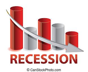 grafico, recessione, rosso, affari