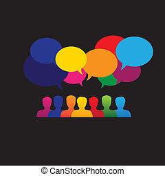 &, grafico, rete, icone, media, persone, -, vettore, linea, sociale