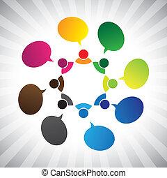 grafico, rete, persone, chatting-, parlare, vettore, sociale, o