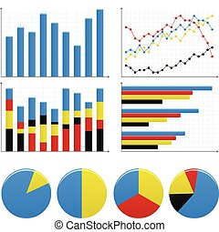 grafico, sbarra, settori