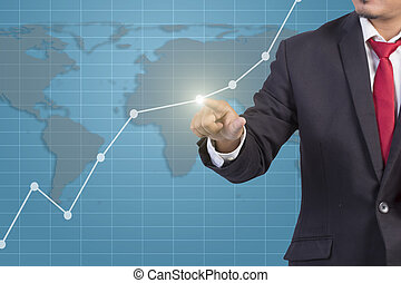 grafico, schermo, virtuale, mano, toccante, uomo affari