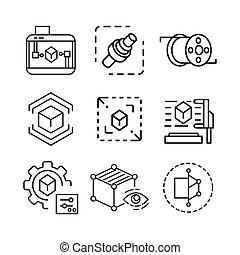 grafico, set, 3d, icona
