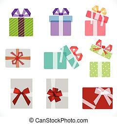 grafico, set, regalo, ricoprendo, scatole, vettore, illustrazione, bianco, icona