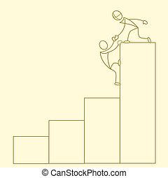 grafico, sketchy, crescita, affari