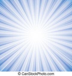 grafico, sole, cielo, raggi, luminoso, vettore, fondo, bianco