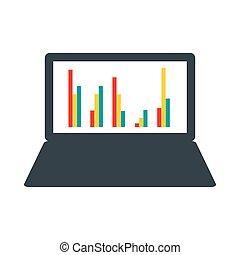 grafico, stile, affari, appartamento, laptop, icona