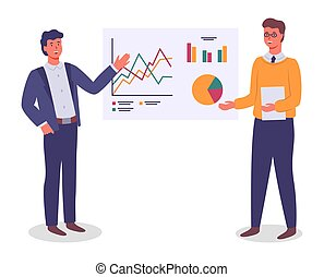 grafico, uomini affari, tabelle, grafica, finanziario, presentare, analisi, piano, lavorante