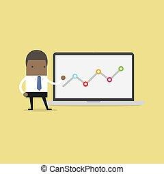 grafico, uomo affari, laptop., indicare, africano
