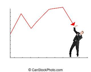 grafico, uomo affari, se stesso, spaventato, difendere, cadere