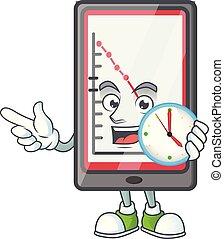 grafico, verticale, giù, orologio, tavoletta, analysis.