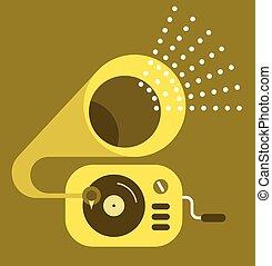 grammofono, vettore, icona