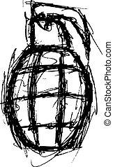 granade, stile, grunge, scarabocchiare