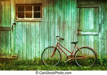 granaio, pittura, digitale, vecchio, contro, bicicletta