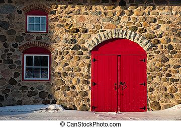 granaio, porta, pietra, vecchio, rosso, luminoso