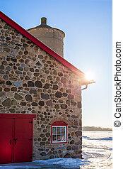 granaio, porta, pietra, vecchio, rosso, luminoso, sunflare