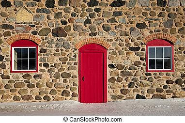 granaio, porta, pietra, windows, vecchio, rosso, luminoso, due