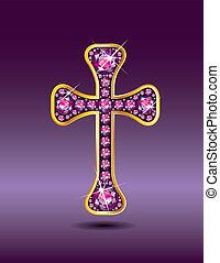 granato, cristiano, croce, oro