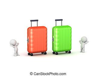 grande, 3d, due, caratteri, bagaglio