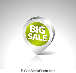 grande, 3d, puntatore, vendita, rotondo