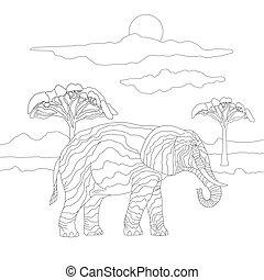 grande, alberi., tipo, coloritura, carino, animali, erbivori, lines., paesaggio, fondo, elefante, adulti, bambini, bello, savana, cielo, libro