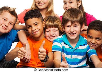 grande, bambini, gruppo, felice