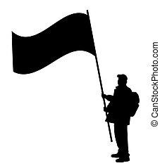 grande, bandiera, presa a terra, uomo
