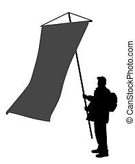 grande, bandiera, presa a terra, verticale, uomo