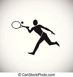 grande, bianco, tennis, fondo, giocatore