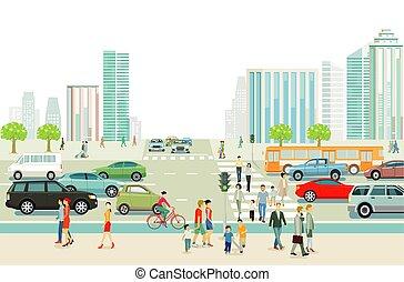 grande, buildings.eps, traffico, high-rise, città, pedoni