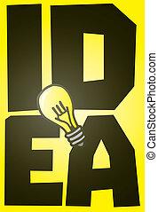 grande, bulbo, luce, idea, baluginante