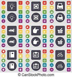 grande, c, set, trumped, appartamento, mano, luce, simbolo., altoparlante, bottoni, cesto, vettore, quaderno, stampante, icona, colorato, tuo, bulbo, design.