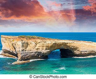 grande, calcare, aereo, strada, pietre, strabiliante, australia, oceano, sopra, vista oceano