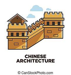 grande, cinese, parete, viaggiare, attrazione, porcellana, architettura