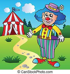 grande, circo, pantaloni, pagliaccio, tenda