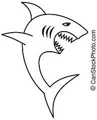 grande, coloritura, mascella, squalo, denti, affilato, aperto