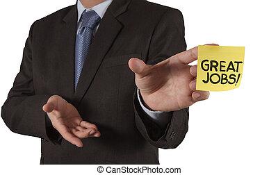 grande, concetto, lavori, parole, mostra, mano, nota, fondo, uomo affari, bianco, appiccicoso