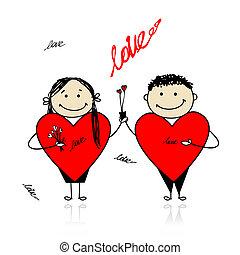 grande, coppia, valentina, day., disegno, cuori, tuo, rosso